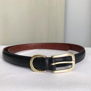 COACH Vintage Skinny Black Leather & Brass Belt